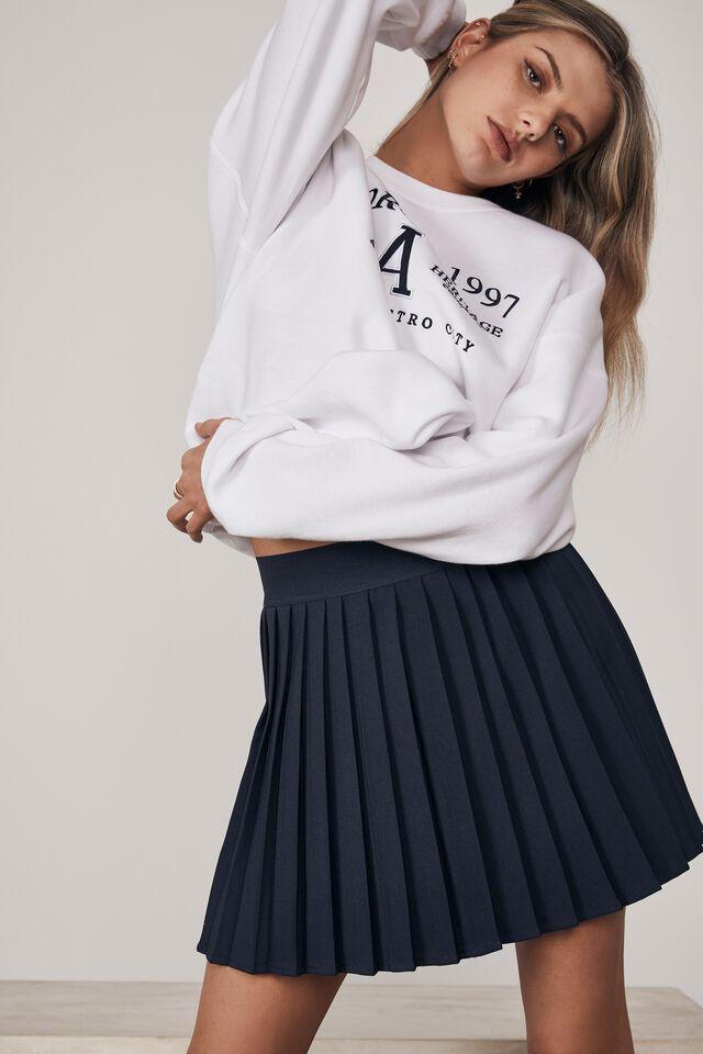 Mini Pleat Skirt, NAVY BLAZER