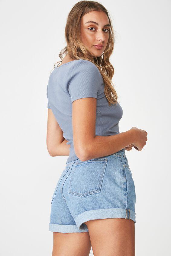 Wide Scoop Neck Short Sleeve Top, FLINTSTONE