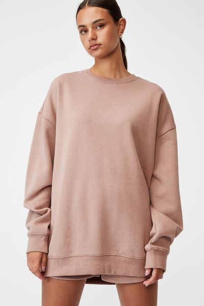 Oversized Crew Neck Sweater, DIRTY BLUSH