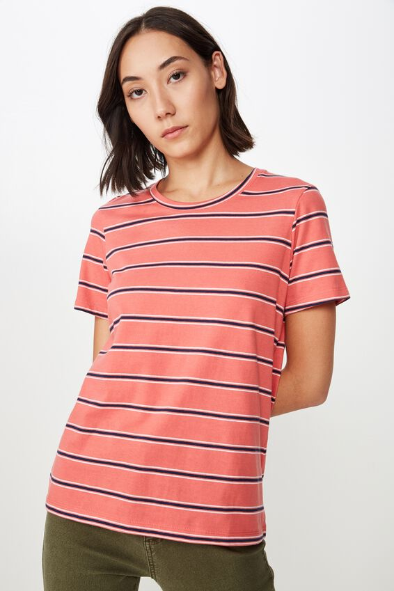 Basic T Shirt Stripe, OAKLEE STRIPE_ROSE