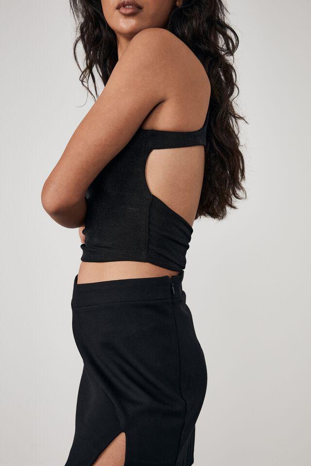 V Front Ponte Skirt, BLACK