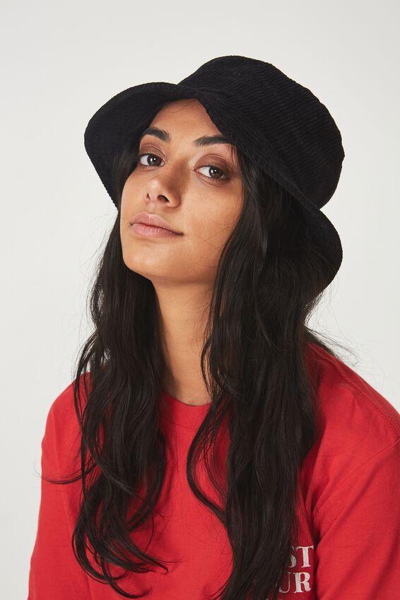 Cord Bucket Hat, BLACK