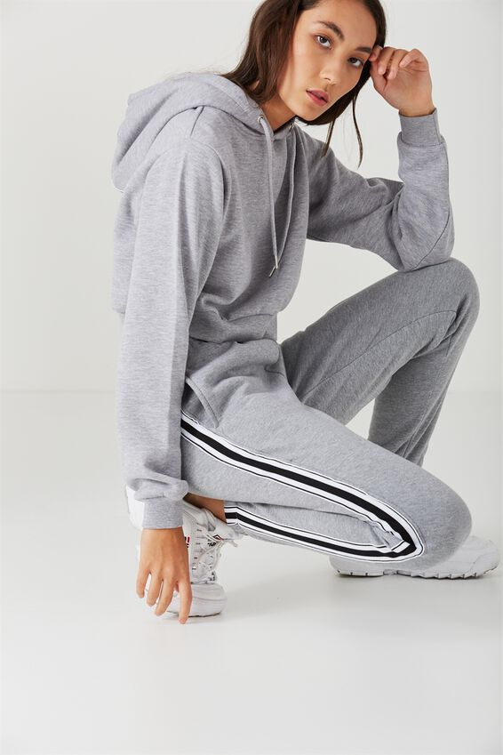 Trenton Trackpant, GREY MARLE_BLK AND WHT