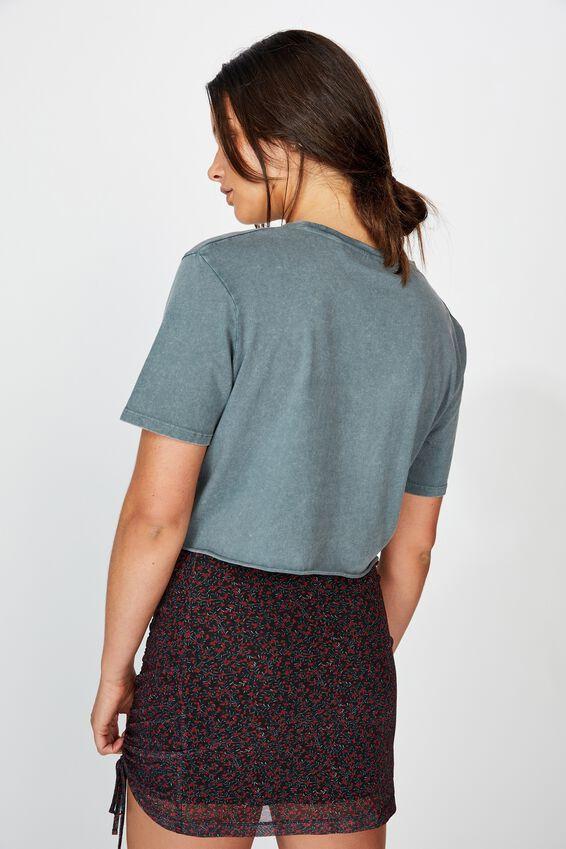 Short Sleeve Raw Edge Crop Graphic T Shirt, WASHED GREY HEART DAGGER