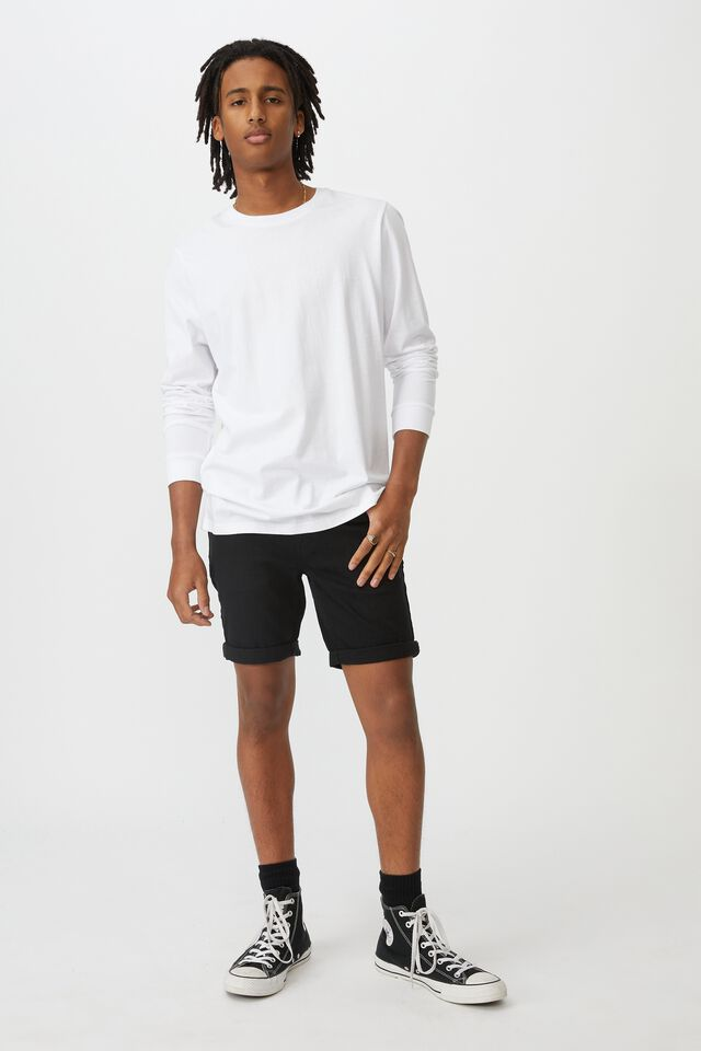 Slim Cut Denim Short, TRUE BLACK
