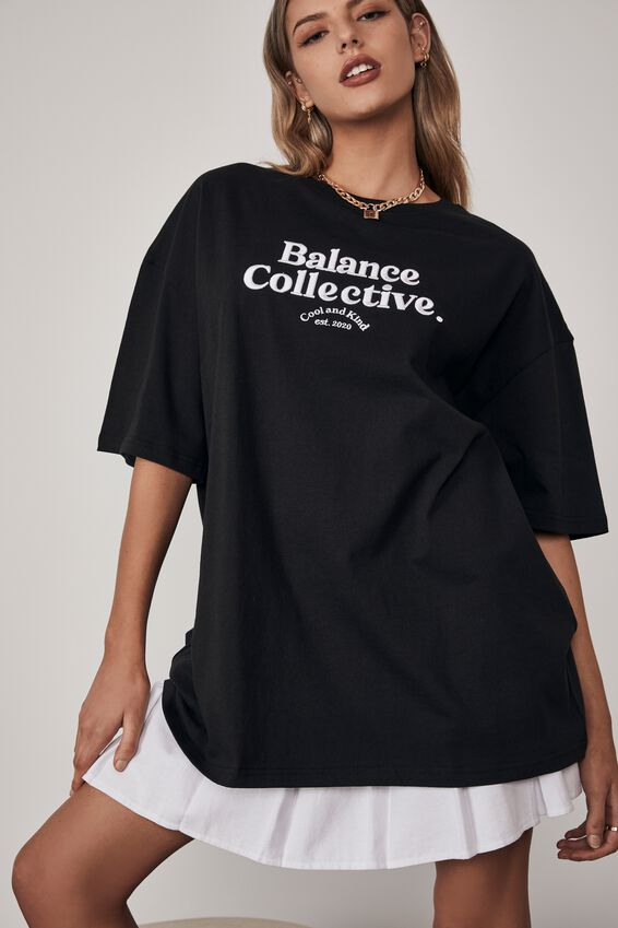 Oversized Graphic T Shirt, BLACK/BALANCE/COLLECTIVE