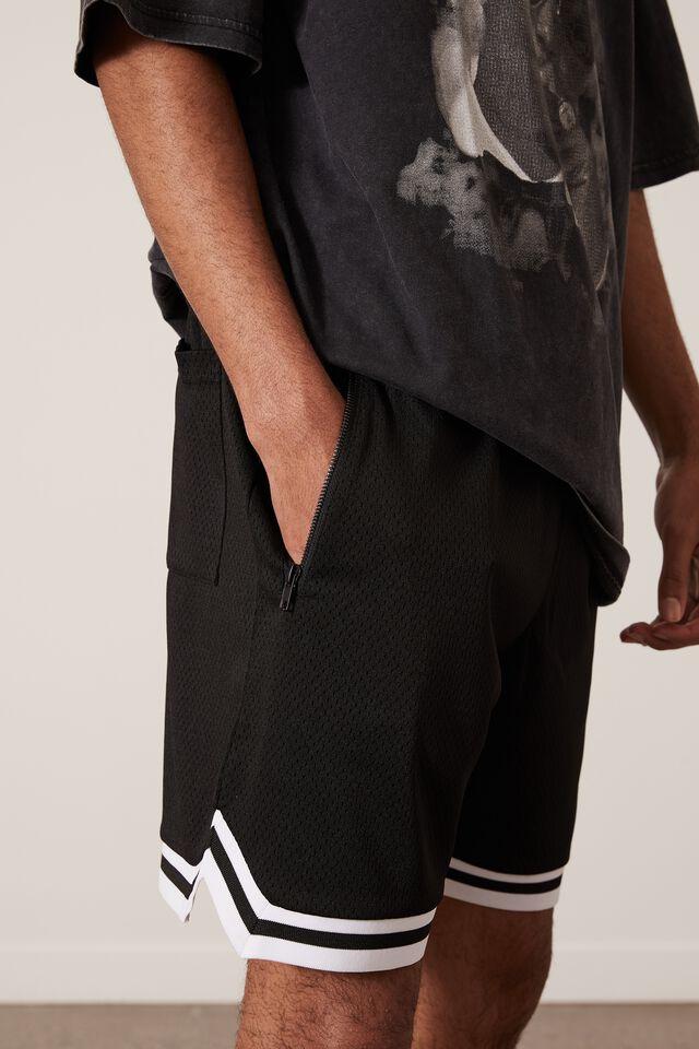 Basketball Short, BLACK/JACQUARD HEM