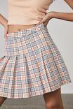 Pleated Skirt, AVAH CHECK_WHITE SAND