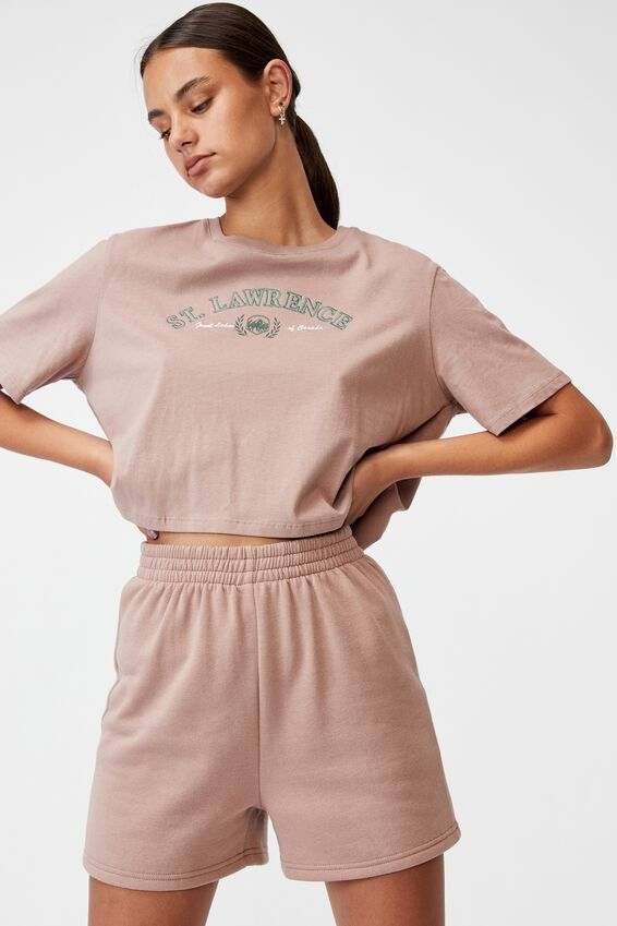 Short Sleeve Crop Graphic T Shirt, DIRTY BLUSH/ST.LAWRENCE