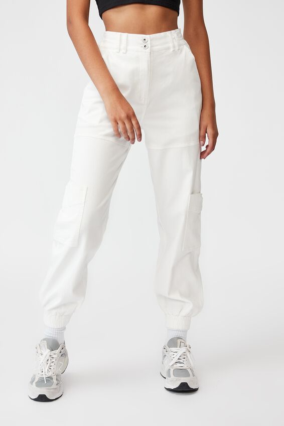 Slim Fit Cargo Pant, WHITE