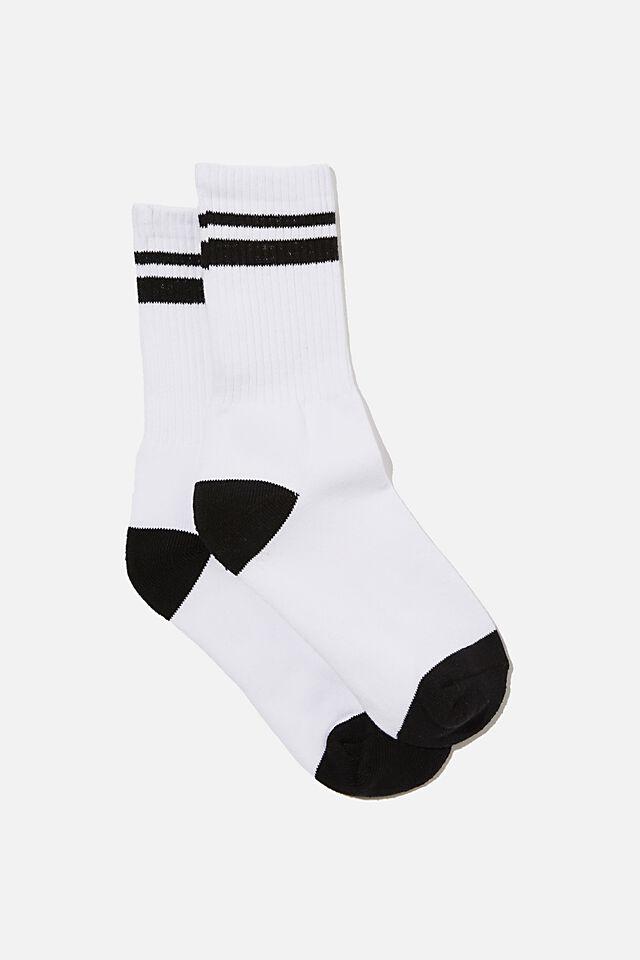 Retro Sport Sock, WHITE BLACK STRIPE