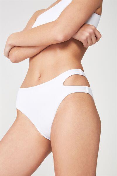 Cut Out Full Bikini Bottom, WHITE