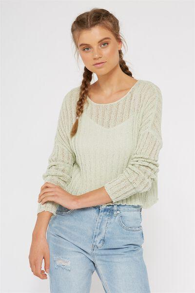 Rachel Ribbed Crop Knit, HINT OF MINT