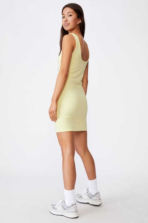 Zipper Front Dress, TENDER YELLOW