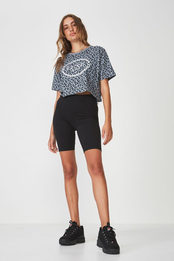 Short Sleeve Raw Edge Crop T Shirt, FLINTSTONE_LUXE