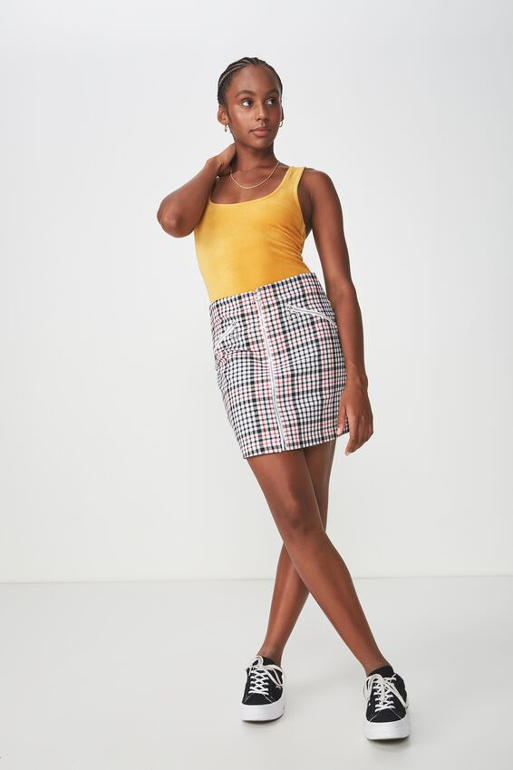 Zip Front A Line Skirt, AMANDA CHECK