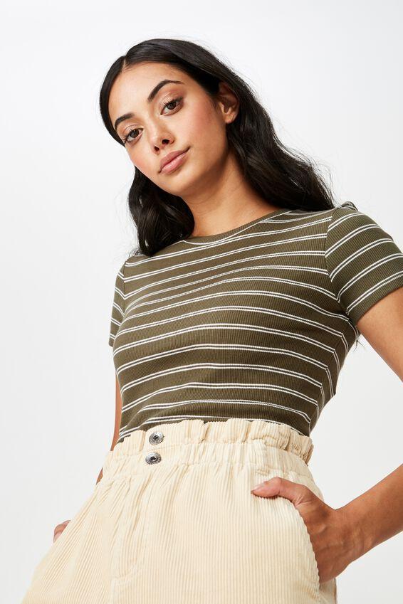 Short Sleeve Rib T Shirt Stripe, WINNIE STRIPE WINTER MOSS