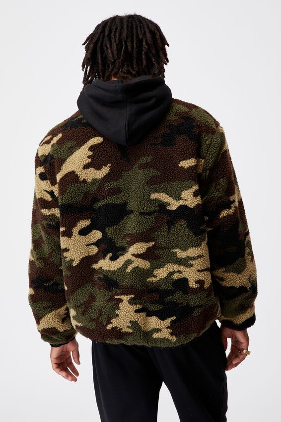 Reversible Sherpa Ski Jacket, BLACK/CAMO