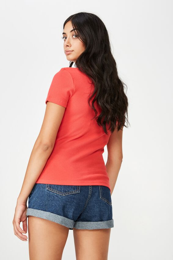 Short Sleeve Rib Henley, WASHED TOMATO