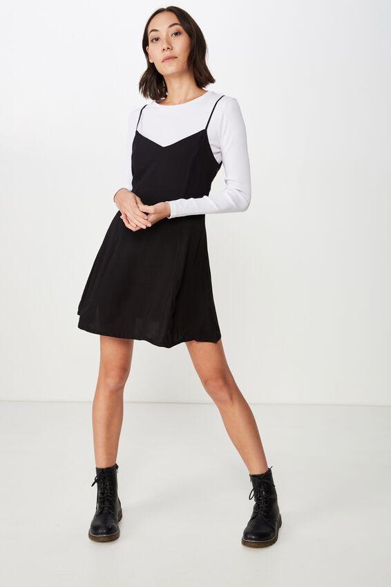 Fit N Flare Dress, BLACK