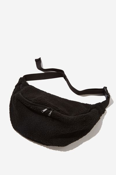 Oversized Bumbag, BLACK TEDDY FLEECE