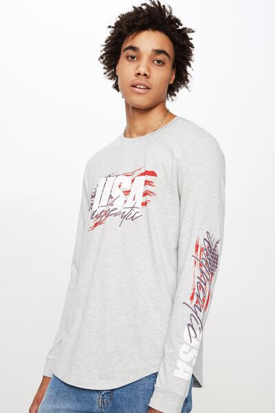 Curved Long Sleeve Graphic T Shirt, LIGHT GREY MARLE/USA