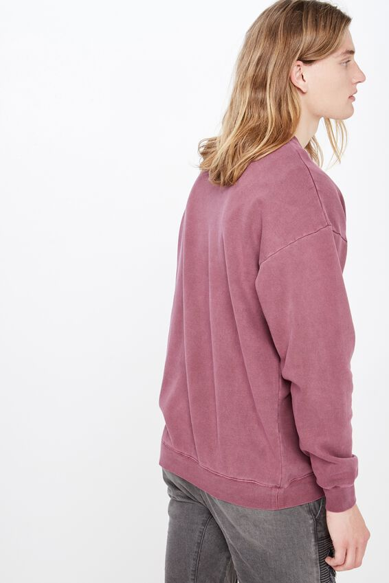 Oversized Graphic Crew, WASHED BURGUNDY/CRAWLING PANTHER
