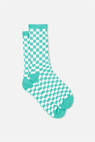 Retro Ribbed Socks, PEACOCK CHECKERS
