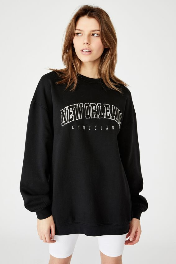 Oversized Graphic Crew, WASHED BLACK/NEW ORLEANS