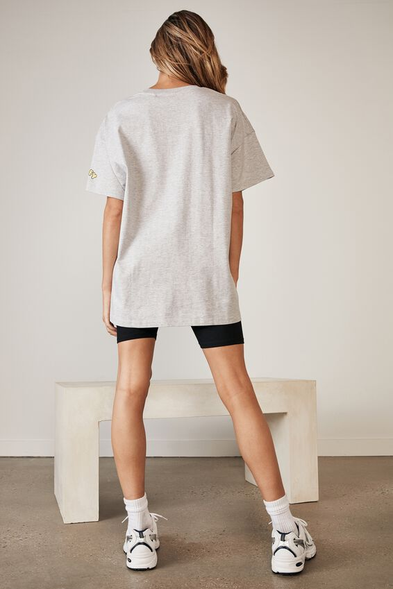 Smiley Lcn Oversized Graphic T Shirt, LCN SMI GREY MARLE/SMILEY
