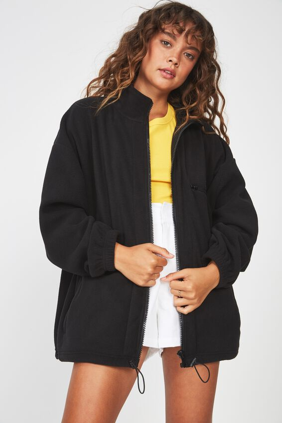 Polar Fleece Jacket, BLACK
