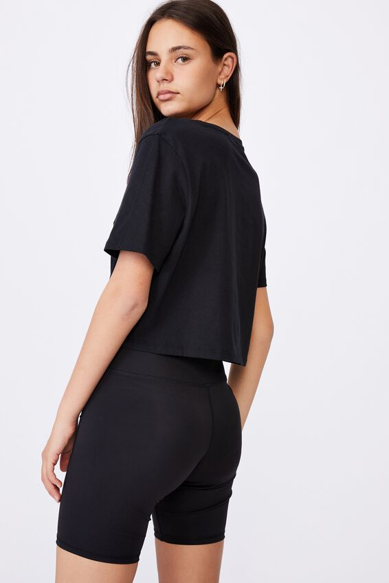 Short Sleeve Raw Edge Crop Graphic T Shirt, BLACK/SAVAGE