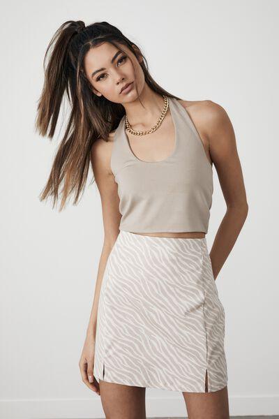 Double Split Mini Skirt, ZEBRA_WHITE SAND