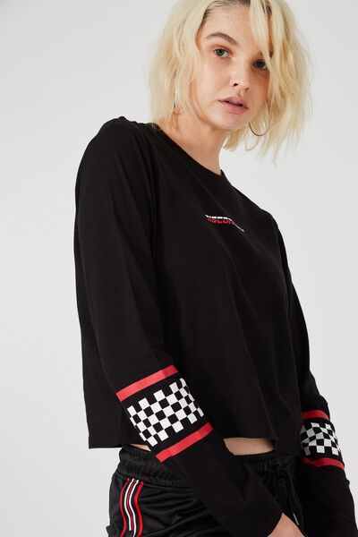 90S Crop Longsleeve Cuff, BLACK_DISCONNECT CHECK