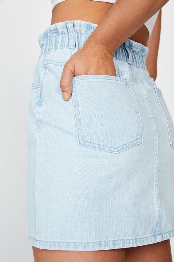 Paperbag Skirt, BLEACH BLUE