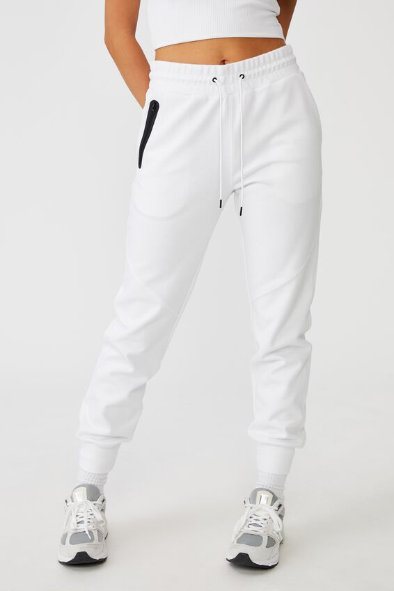 Tech Slim Trackpant, WHITE