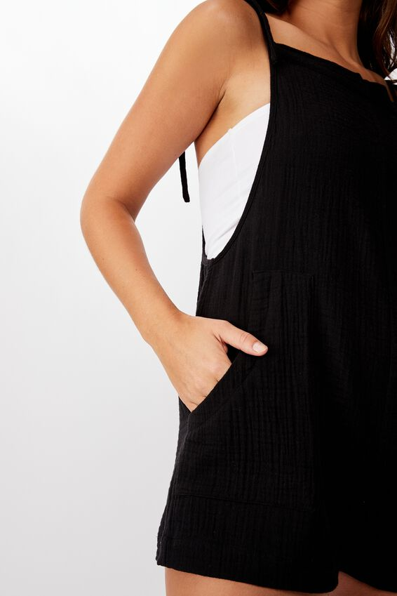Textured Playsuit, BLACK