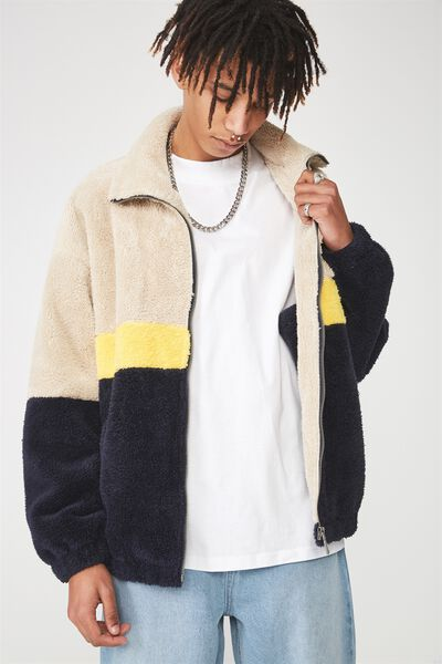 Fuzzy Zip Through Jacket, CREAM/YELLOW/NAVY