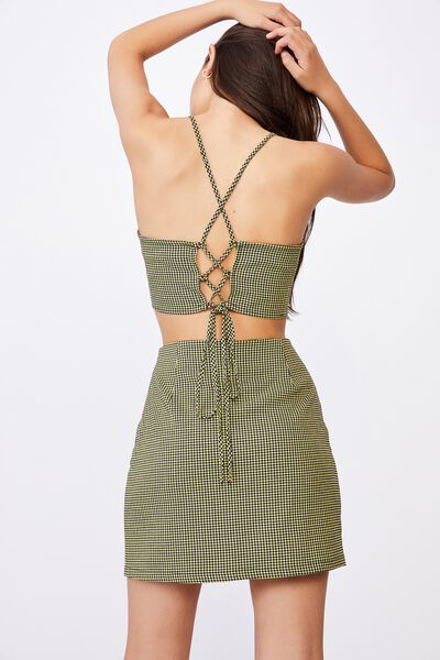 Tie Back Co-Ord Top, ELLE YELLOW GINGHAM
