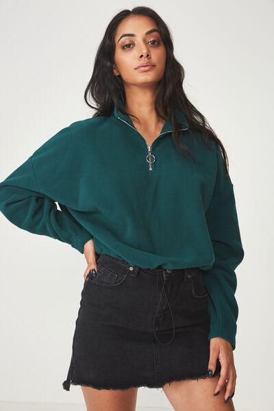 Crop Qtr Zip Polar Fleece, BOTANICAL GARDEN