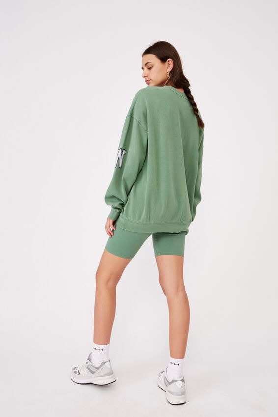 Oversized Graphic Crew, WASHED ECO GREEN/WYOMING