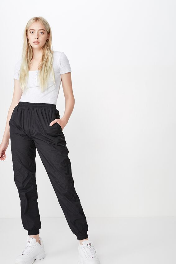 Cuffed Woven Trackpant, BLACK