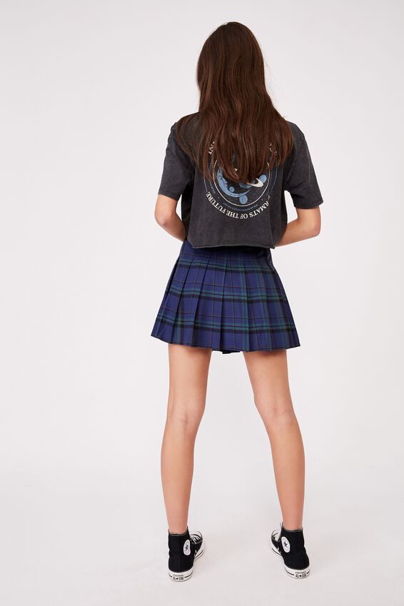 Pleated Skirt, WILLOW CHECK PACIFIC