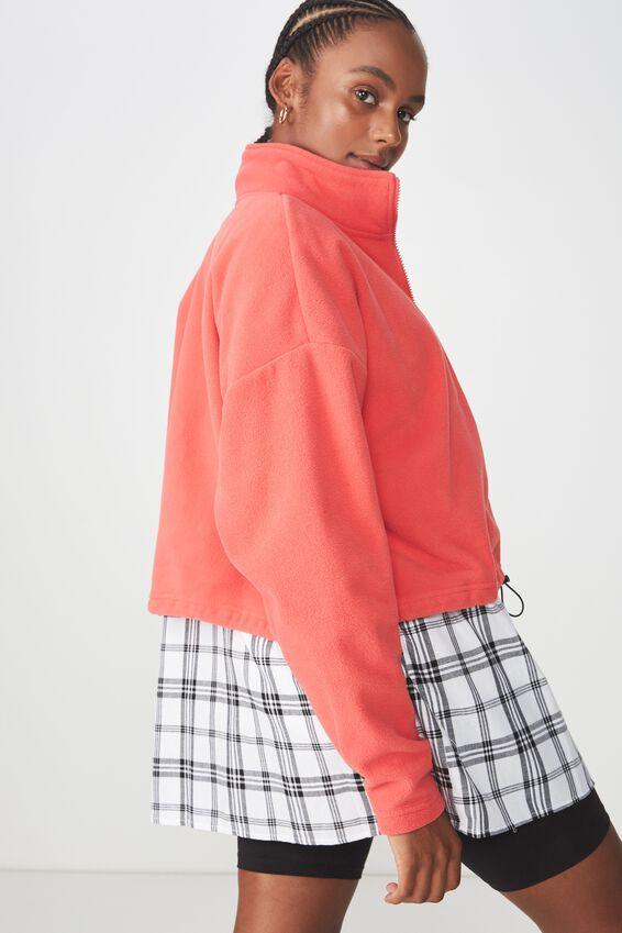 Crop Zip Thru Polar Fleece Jacket, WASHED TOMATO