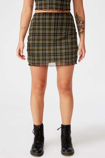 Mesh Skirt, KHAKI/CAROLINE CHECK