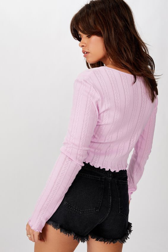 Pointelle Cardi Long Sleeve, NEON PURPLE