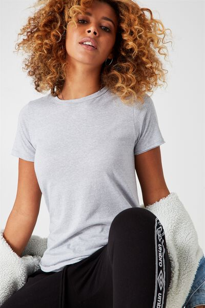 So Soft Crew Neck Tee, GREY MARLE FLECK