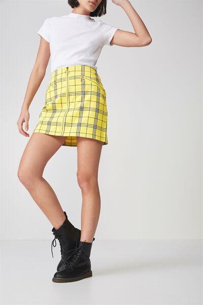 Zip Front A Line Skirt, LEMON CHECK