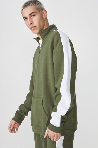 Sports Quarter Zip Jumper, BRONZE GREEN/WHITE STRIPE