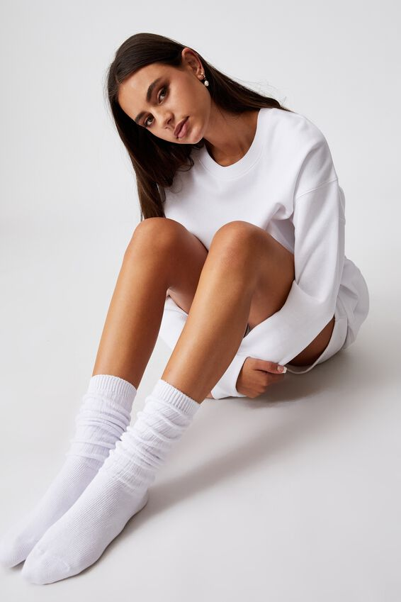 Slouchy Sock, WHITE